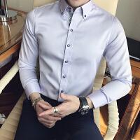 男士百搭长袖衬衫韩版修身英伦时尚休闲纯色丝光棉衬衣潮