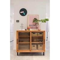北欧餐边柜简约创意实木玻璃边柜客厅储物柜现代茶水柜碗柜玄关柜 两个组合款 双门