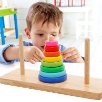 【限时抢】木丸子儿童益智汉诺塔彩虹叠叠乐套圈配对积木颜色认知木制玩具