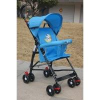 婴儿推车可坐可躺轻便折叠四轮避震新生儿婴儿车宝宝伞把车手推车 蓝色 只坐款+礼包