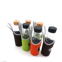 普润 时尚玻璃运动啤酒水杯带茶隔400ML PR140黑色