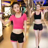 健身房运动套装女假两件背心短裤健身服女三件套套装瑜珈服