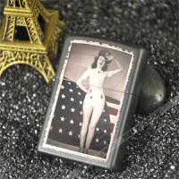 打火机zippo正版 芝宝黑哑漆彩印28533美国国旗美女女兵战士zipoo