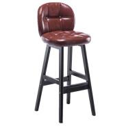 实木吧台椅子欧式酒吧椅高脚凳家用靠背吧凳木质复古咖啡前台吧椅