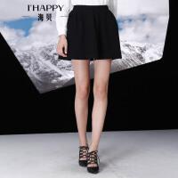 海贝冬季半身裙 韩版时尚A字高腰百搭毛呢短裙