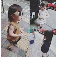 女童17夏季装新款纯色婴幼儿童吊带小背心宝宝薄款上衣衬衫