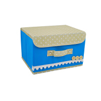 无纺布扣扣收纳箱 田园风储物盒扣扣箱 储物箱有盖 收纳盒 蓝色大号