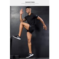 运动跑步套装男马拉松三分短裤速干宽松t恤速干健身套装薄款