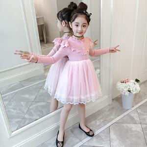 乌龟先森 儿童连衣裙 女童春季新款韩版学生洋气中小童时尚女孩拼接休闲打底裙子童装
