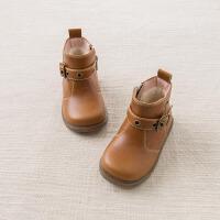 戴维贝拉冬季皮鞋 女童加绒保暖皮靴DB6010