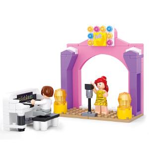 【当当自营】小鲁班新粉色梦想小镇女孩系列儿童益智拼装积木玩具 钢琴独奏M38-B0521