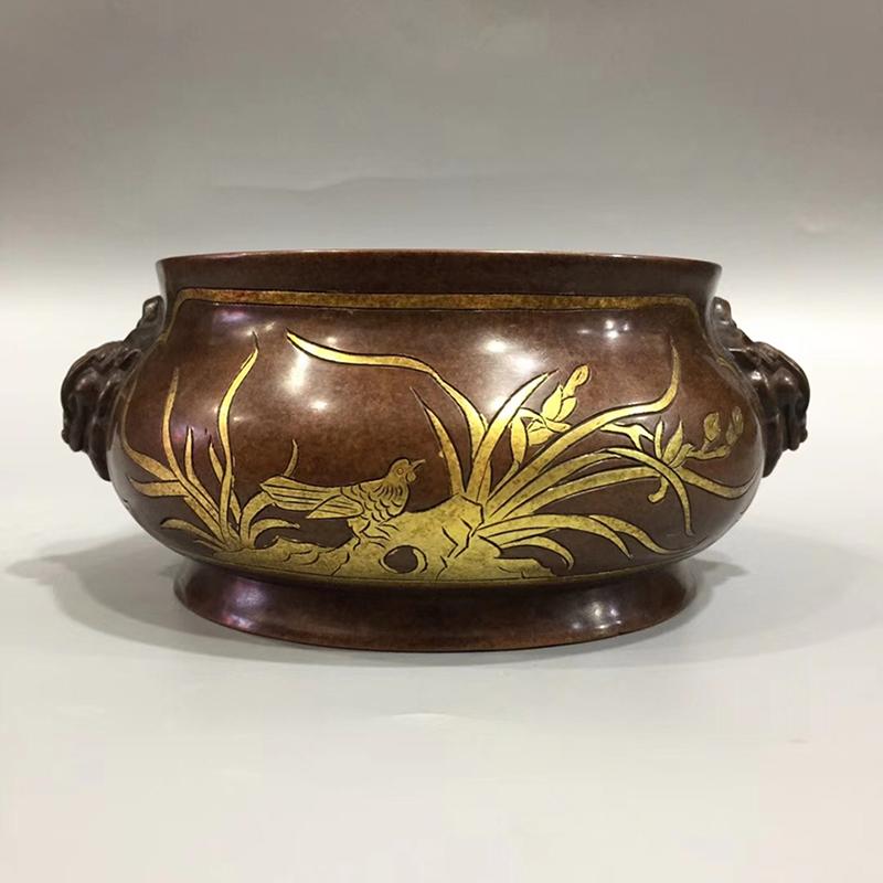 纯紫铜鎏金香炉