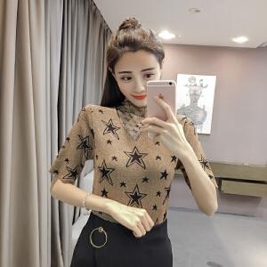 【班图诗妮】2018夏季韩版性感V领网纱拼接打底针织衫修身显瘦套头毛衣女