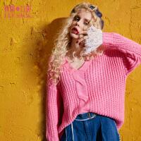 【2件3折】妖精的口袋惊艳洛丽塔秋冬装新款V领宽松蕾丝拼接落肩毛衣女