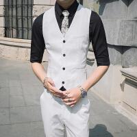 夏季薄款马甲男韩版修身纯色暗纹发型师夜场西装马甲坎肩帅气工服