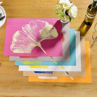 奇居良品 环保可水洗西餐桌防滑餐垫隔热垫子 彩色杏叶PVC餐垫
