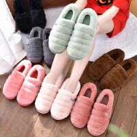 新款女士室内包跟毛毛绒拖鞋 韩版棉拖鞋女月子鞋 男士家居家用棉鞋