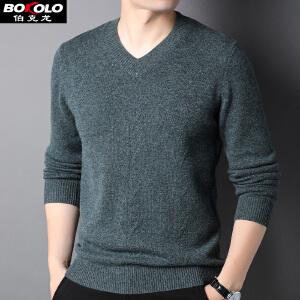 伯克龙 男士纯羊毛衫冬季加厚款保暖V领 男装青年中年商务休闲套头针织衫毛衣  Z8066
