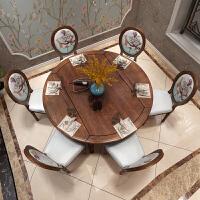美式乡村实木伸缩餐桌简约可折叠餐桌椅组合欧式家具圆形饭桌