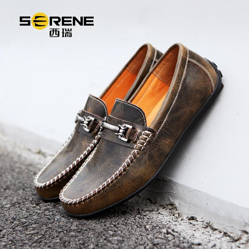 男士豆豆鞋古皮鞋新款休闲男鞋英伦套脚懒鞋软底驾车鞋子男5207