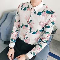 青年春季韩版碎花衬衫男士免烫修身长袖衬衣夜场发型师酒吧少爷装