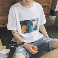 男士圆领短袖T恤男韩版青年夏季印花半袖体恤上衣打底衫衣服潮流