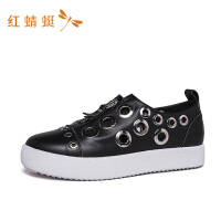 红蜻蜓女鞋秋季新款金属圆环拉链时尚潮流舒适单鞋板鞋休闲鞋-