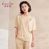 【专柜同款】康妮雅家居服女士睡衣夏季卡通可爱短袖七分裤套装薄款