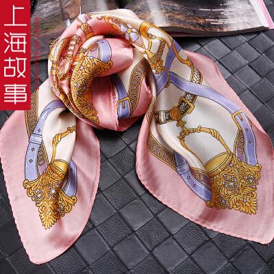 上海故事 真丝印花丝巾女围巾春秋夏65*65 桑蚕丝巾领巾
