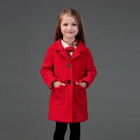 晨舞童装亲子装女童毛呢大衣夹棉加厚外套长袖翻领外套红色过年装