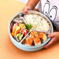 儿童不锈钢餐具餐盒分隔分格餐盘宝宝便当盒幼儿园小学生饭盒防烫