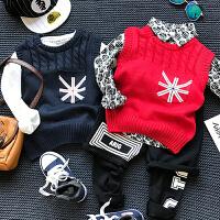 儿童装男童女童毛线马甲韩版时尚套头毛衣背心2018春装新款E344 P