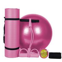 瑜伽球套装多功能加厚防爆健身球65cm瑜伽垫女脚蹬拉力器健身三件套 瑜伽垫+瑜伽球+拉力器