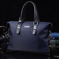 男公文包商务横款手提包男士包包休闲皮包单肩斜挎包男电脑背包PY-C1827-2 蓝色