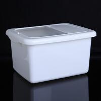 带盖10KG米桶厨房防虫储米箱10KG密封防尘米面大米收纳箱面粉桶 储米箱米缸大米面粉防虫储米箱-白色储米箱
