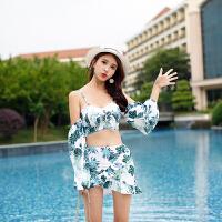 分体泳衣女性感时尚遮肚显瘦高腰沙滩度假温泉款比基尼三件套