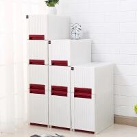 夹缝收纳柜 大容量加厚多层缝隙收纳整理架床头柜衣服零食储物柜抽屉式 白色红拉手
