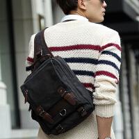 12新款男包包 大胸包 休闲包斜挎包韩版潮包 斜跨帆布包旅行男士骑行包 咖啡加厚帆布