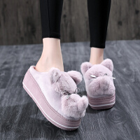 高跟棉拖鞋女厚底防水卡通可爱居家毛毛鞋韩版室内冬天拖