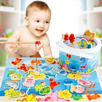 早教蒙氏教具木制儿童磁性钓鱼智力钓青蛙游戏 1-2岁宝宝益智玩具