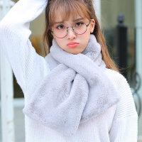 加厚毛绒假领子仿兔毛围脖韩版保暖纯色围巾时尚女围巾