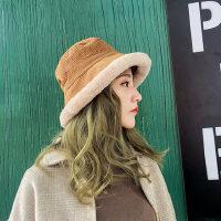 日系chic盆帽休闲保暖礼帽女 韩版百搭纯色女士帽子 新款兔毛呢渔夫帽女