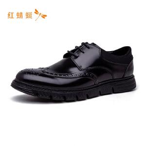 红蜻蜓圆头印花系带低跟舒适男休闲鞋