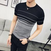 夏短袖针织衫男休闲时尚条纹衫学生圆领紧身T恤衫潮POLO衫