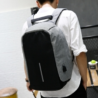 背包男商务旅行防盗双肩包休闲大学生男士多功能15.6寸双肩电脑包 灰色