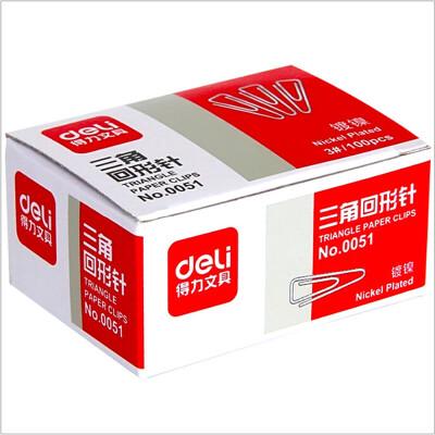 得力办公3#回形针0051金属三角曲别针加厚电镀不易生锈 100枚/盒