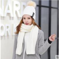 帽子女韩版潮毛线帽保暖针织时尚帽子加绒围巾两件套骑车保暖