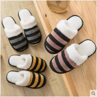 棉拖鞋女冬情侣条纹可爱韩版家用冬天男厚底防滑拖鞋