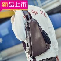 胸包男士大容量斜挎包包运动休闲单肩包韩版潮流背包户外跨包书包 皮质黑 USB充电+耳机孔