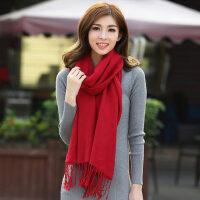 纯羊毛围巾韩版女士保暖紫色围巾超长款薄款空调披肩两用